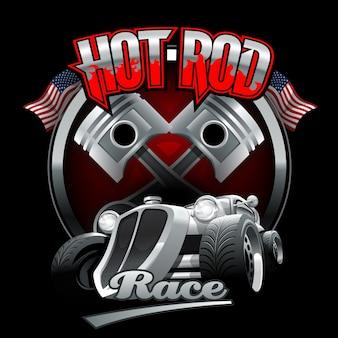 Logo vintage hot rod pour imprimer sur des t-shirts ou des affiches