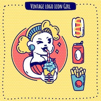 Logo vintage icône fille fast-food vecteur