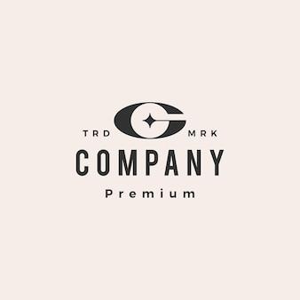 Logo vintage de lettre g étoile hipster