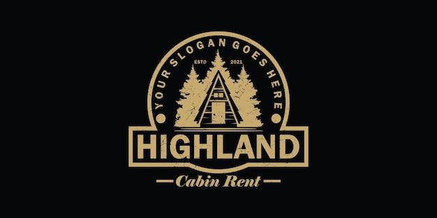 Logo vintage, location de cabine, location de villa et autre location de cabine, référence de logo pour les entreprises