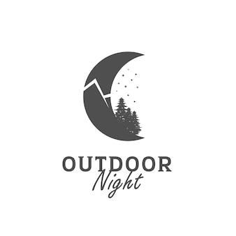 Logo vintage lune avec montagne dans la nuit