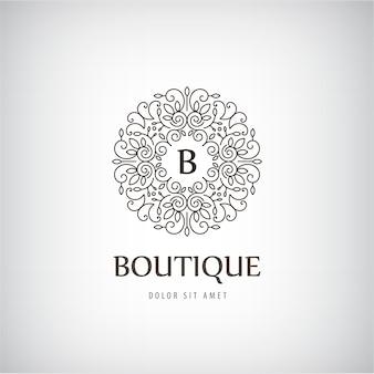 Logo vintage de luxe, icône isolé avec des remous, monogramme
