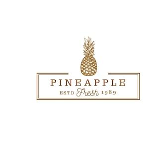 Logo vintage de magasin de fruits d'ananas