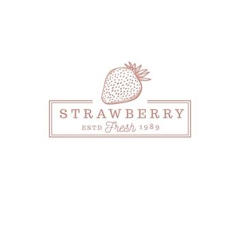 Logo vintage de magasin de fruits aux fraises