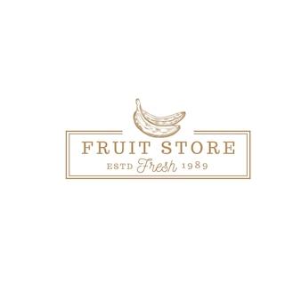 Logo vintage de magasin de fruits banane