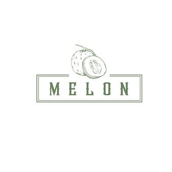 Logo vintage de magasin de fruits melon