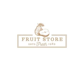 Logo vintage de magasin de fruits poire