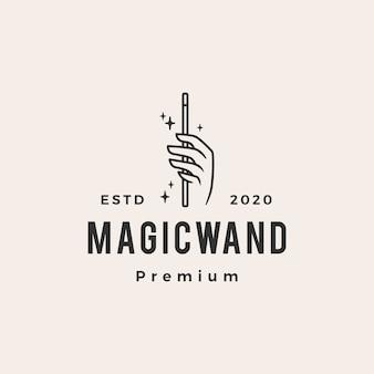Logo vintage de main baguette magique hipster