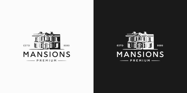 Logo vintage de maison de maître hipster
