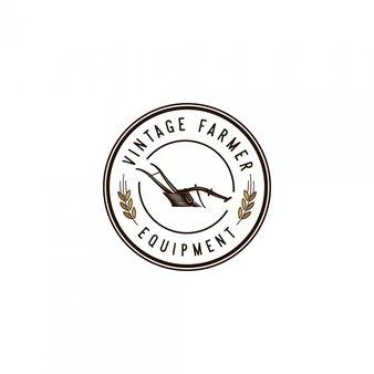 Logo vintage de matériel agricole