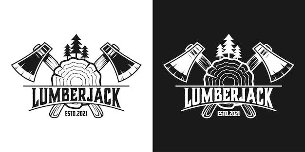 Logo vintage de menuiserie de bûcheron avec des produits forestiers d'équipement isolés