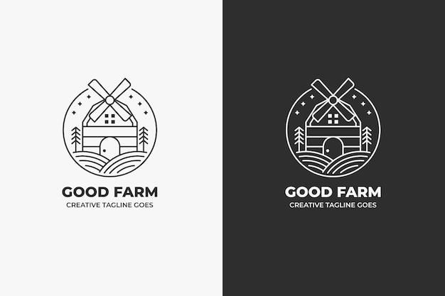 Logo vintage minimaliste de ferme de moulin à vent