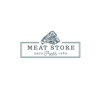 Logo vintage de nourriture de magasin de viande