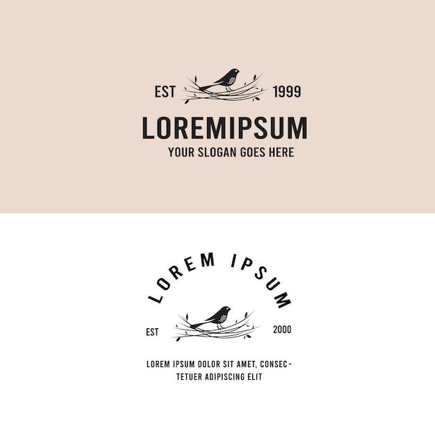 Logo vintage d'oiseau de nid