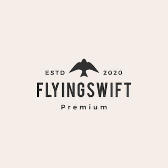 Logo vintage d'oiseau rapide volant