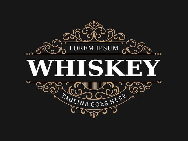 Logo vintage ornemental étiquette de whisky élégant antique