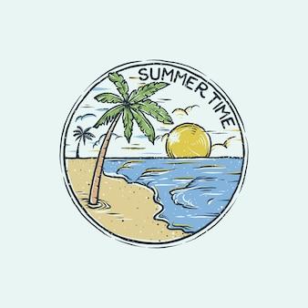 Logo vintage plage dessinée à la main