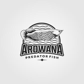 Logo vintage de poisson arowana