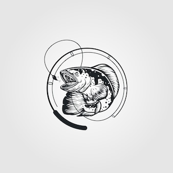 Logo vintage de poisson et de canne à pêche