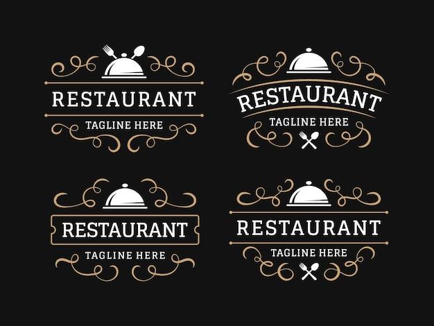Logo vintage de restaurant avec ornement s'épanouir