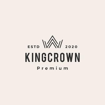 Logo vintage de roi couronne hipster