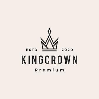 Logo vintage de roi couronne hipster.