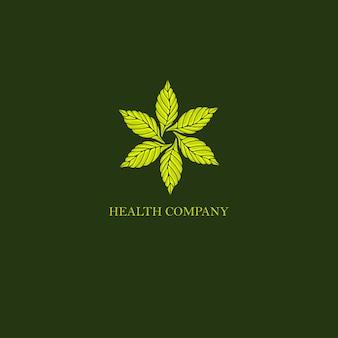 Logo vintage rond de feuilles