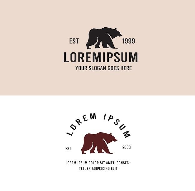Logo vintage de rugissement d'ours