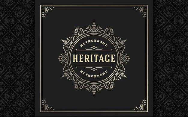 Le logo vintage s'épanouit élégant dessin au trait ornements gracieux conception de modèle vectoriel de style victorien. crête de luxe calligraphique classique boutique héraldique royale, enseigne d'hôtel ou de restaurant et cadre orné