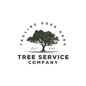 Logo vintage de service d'arbres / paysage résidentiel