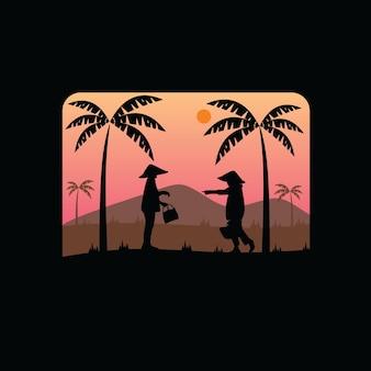 Logo vintage de silhouette de voiture classique