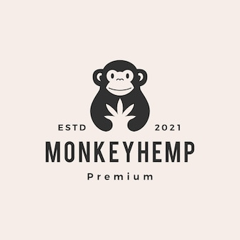 Logo vintage de singe cannabis hipster