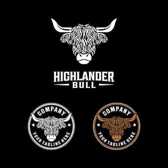 Logo vintage de taureau highlander. création de logo mascotte