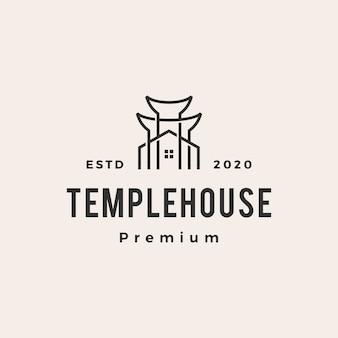 Logo vintage de temple house hipster