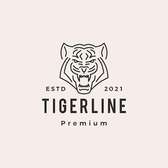 Logo vintage de tigre monoline hipster