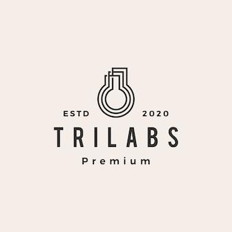Logo vintage de trois laboratoires hipster