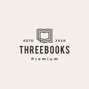 Logo vintage de trois livres hipster