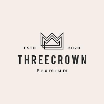 Logo vintage de trois roi couronne