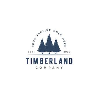 Logo vintage vintage à feuilles persistantes, pins, épicéa, cèdre