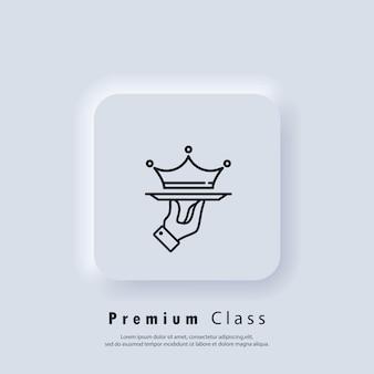 Logo vip. icône de service premium. service d'affaires vip. couronne sur un plateau. offre classe premium. service de restauration vip. vecteur. icône de l'interface utilisateur. bouton web de l'interface utilisateur blanc neumorphic ui ux. neumorphisme