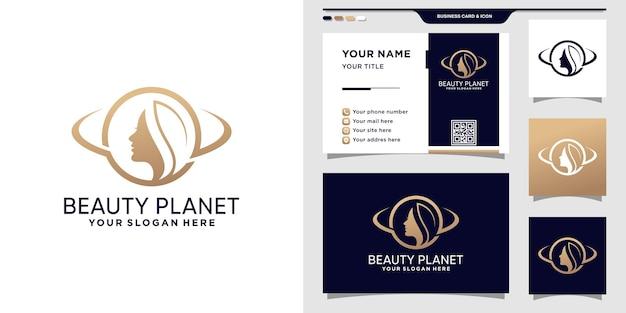 Logo de visage de femme de beauté avec le concept de planète et la conception de carte de visite