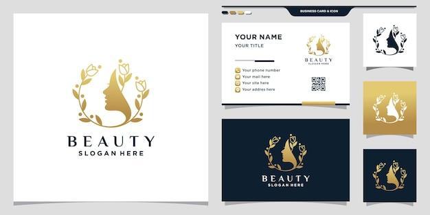 Logo de visage de femme de beauté avec le style d'art de feuille et de ligne et la conception de carte de visite