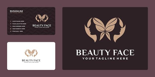 Logo de visage de femmes créatives avec concept papillon et carte de visite