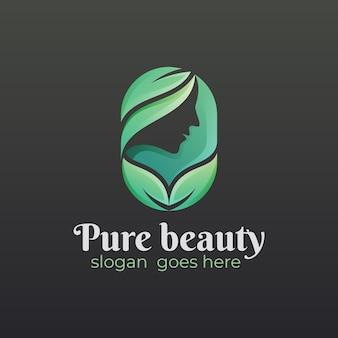 Logo de visage et feuille de femme, beauté pure verte, création de logo de salon de beauté nature
