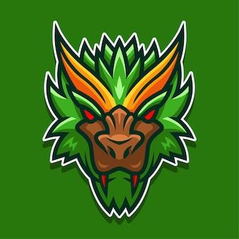Logo de visage de monstre vert en colère