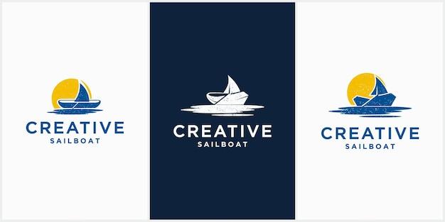 Logo de voilier créatif scénographie voilier icône vecteur modèle vecteur modèle vecteur icône navire je