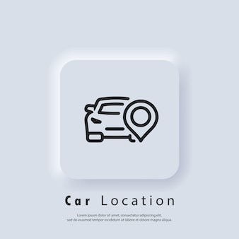 Logo de voiture de location. icône de broche de localisation de voiture. géolocalisation automatique. vecteur eps 10. icône de l'interface utilisateur. bouton web de l'interface utilisateur blanc neumorphic ui ux. neumorphisme