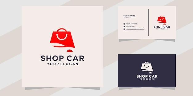 Logo de voiture de magasin et modèle de carte de visite