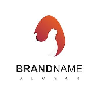 Logo de la volaille, icône de l'entreprise de ferme animale avec le symbole de la poule