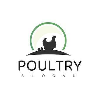 Logo de la volaille avec le symbole de la poule